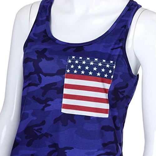 Sexyville T Femme Gilet Shirt Camouflage Dbardeur Rond Impression Mode Sexy Bleu Manche Col sans Vest rrqPU