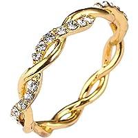 Niome 14K Gold Twisted Crystal Diamond Ring Women's Engagement Wedding Bridal Rings