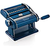 Marcato Atlas Pasta Machine, Made in Italy, Blue, Includes Pasta Cutter, Hand Crank, and Instructions