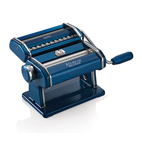 Marcato Atlas Pasta Machine, Made in Italy, Blue, Includes Pasta Cutter, Hand Crank, and Instructions by Marcato