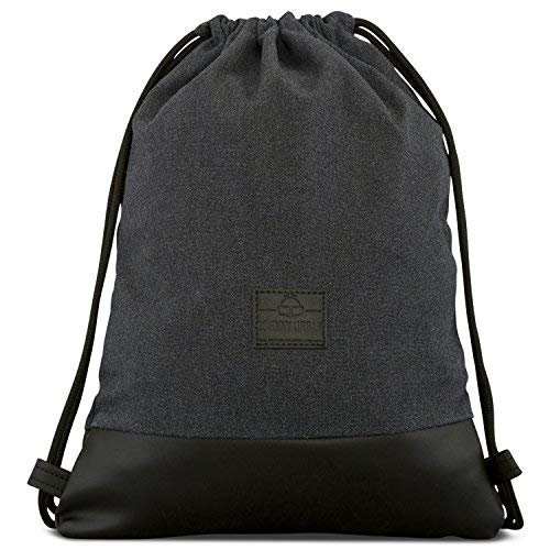 Johnny Urban Drawstring Bag Cotton Anthra Black Gymsack Gym Sack Men & Women