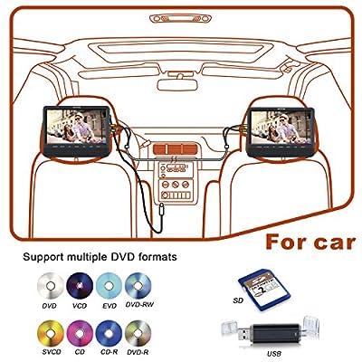 WONNIE Dual Screen DVD Player Ultra-thin TFT Screen Headrest Portable DVD Player for Car