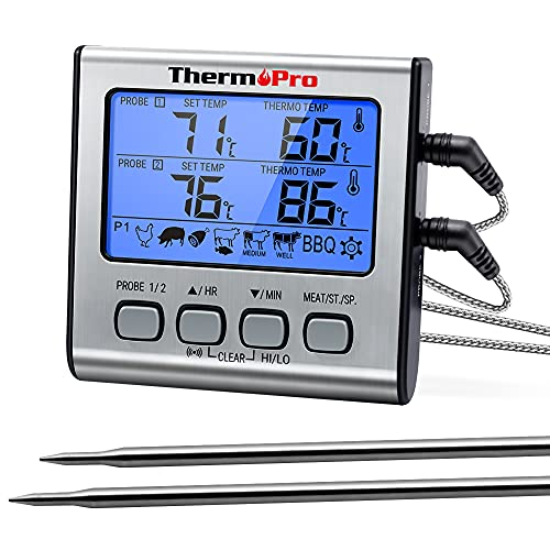ThermoPro TP-17 Dual Meat Thermometer for Grilling, Silver grill thermometer