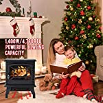 "FDW Electric Fireplace Heater 20"" Freestanding Fireplace Stove Portable Space Heater with Thermostat for Home Office Realistic Log Flame Effect 1500W CSA Approved Safety 20""Wx17""Hx10""D,Black by FDW"