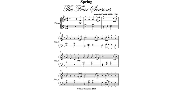 Spring Four Seasons Vivaldi Easiest Elementary Piano Sheet