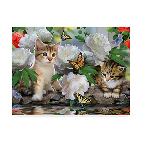 Trademark Fine Art Kittens And Flowers by Howard Robinson, 35x47-Inch by Trademark Fine Art