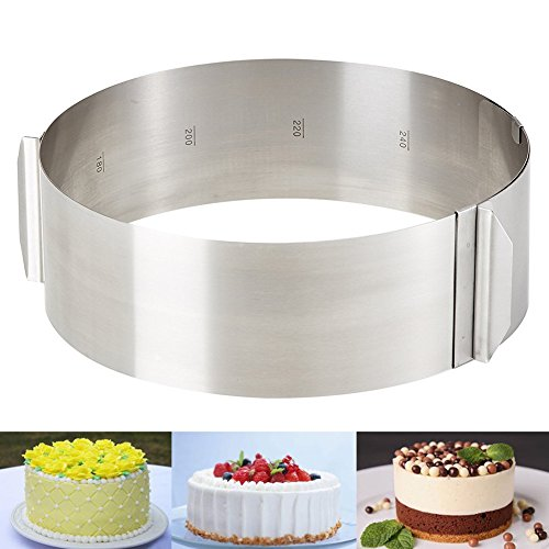 Katech Adjustable Stainless Steel Cake Mold Ring Round Mousse Mold 6-12 inch by Katech