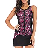 Tankini Swimsuits for Women Plus Size,SMALLE◕‿◕ Women's Boho Print Zip-Up Two Piece Bathing Suits Swim Skirt+Tankini Red