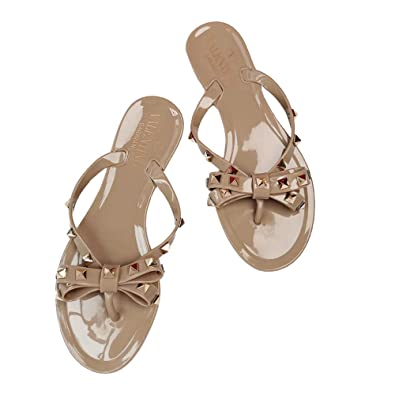 3637f8f141a Amazon.com | Womens Valentino/Slipper PVC Jelly Rockstud Bow Thong ...