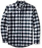 Amazon Essentials Men's Regular-Fit Long-Sleeve Plaid Flannel Shirt, Navy Plaid, Medium