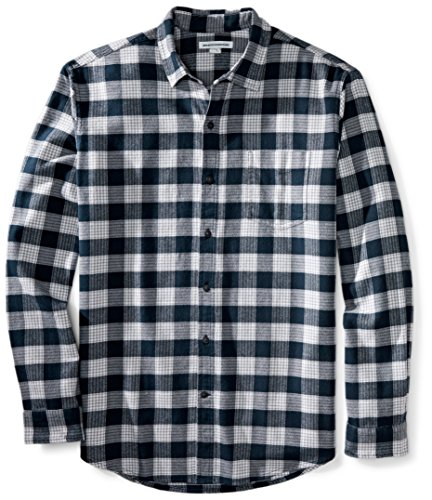 Amazon Essentials Men's Regular-Fit Long-Sleeve Plaid Flannel Shirt, Navy Plaid, Small ()