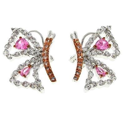 Amazoncom Whisper In My Ear Pretty Butterfly Earrings With Pink
