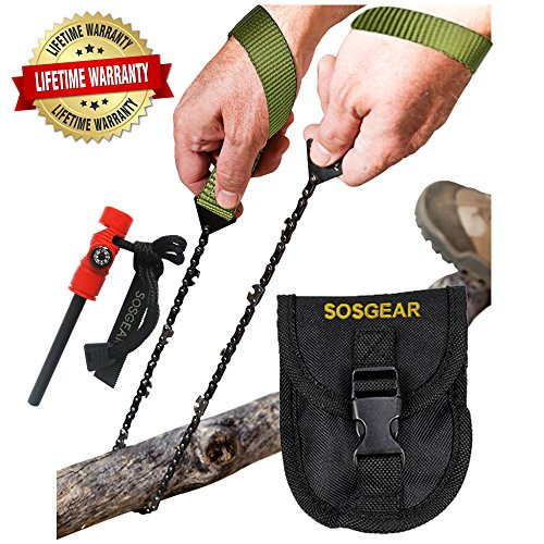 "SOS Gear Pocket Chainsaw and Fire Starter - Survival Hand Saw, , Firestarter with Built in Compass & Whistle, Embroidered Pouch for Camping & Backpacking - Green Straps, 24"" Chain"