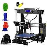 3D Printer, OUTAD High Precision Desktop Aluminium Profile Extrusion P802M 3D Printer Kits with Secure Digital Memory SD Card(8GB) Extruder Nozzle Acrylic Frame LCD Screen Plastic Wheel with Bearings Size 220*220*240 mm Support ABS/PLA/HIP/PP/Wood Filament