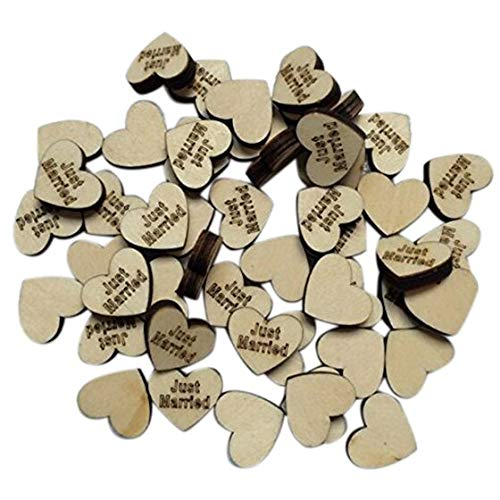 - BOZLIZ - Heart Shaped - 50pcs Letters Wood Slices Heart Shaped Wedding Just Married - Glass Glasses Clock Yarn Zebra Sprinkles Diamond Gold Stickers Jewels Area Piercing Napkins Measuring Earring