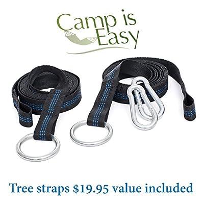 Ripstop Ultralight Parachute Nylon Hammock - 2 Premium Tree Straps Included