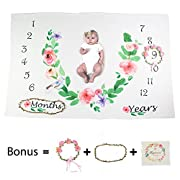 Ghome Baby Monthly Milestone Blanket 1-2 Years Old Babies Props Shoots Backdrop Made of Fleece, Gift for Newborn Shower&New Mom 40 X60