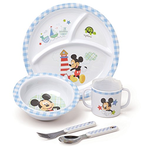 - Disney Mickey Mouse 5 Piece Dinner Set w/Cute Gingham Pattern Meal Time Fun