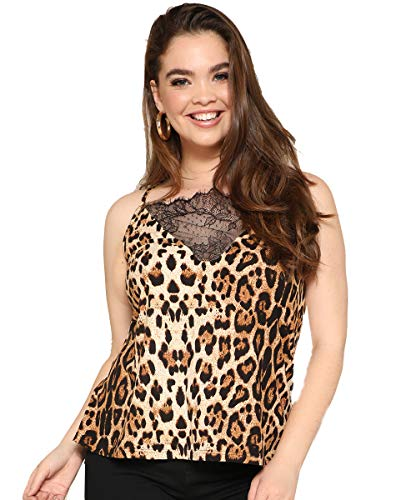 Romwe Women's Plus Size Lace Front V Neck Spaghetti Strap Cami Tank Top Camisoles Vest Brown 3XL