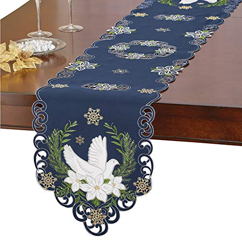 Collections Etc Navy Blue Religious Holiday Embroidered Table Linens with Doves, Poinsettias & Gold Snowflakes, Runner]()