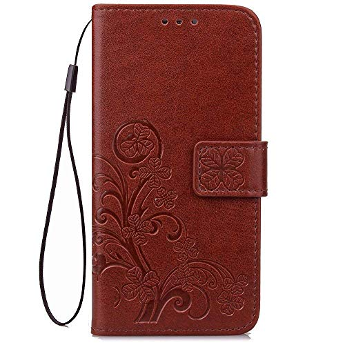 Galaxy J7 2018,J7 Refine,J7 Aero,J7 Aura,J7 Top,J7 Eon Case,[Flower Embossed] Leather Wallet Flip Folio Protective Case Cover with Card Holder and Stand for Samsung Galaxy J7 2018 SM-J737 (Brown)