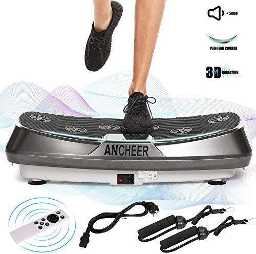 🥇 Ancheer Plataforma Vibratoria Fitness 3D Vibration | Gran Superficie Antideslizante Curvada | 2 Bandas Elásticas de Entrenamiento | Pantalla LCD