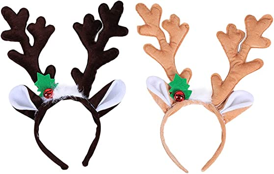 Christmas Reindeer Antlers Costume Ear Hair headband Light Luminous Decor Prop