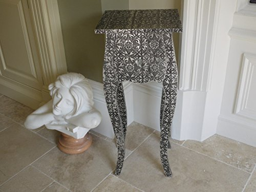 Garden Sculptures & Ornaments French Vintage Style Silver Embossed Bedside Table/Side Table/Lamp Table