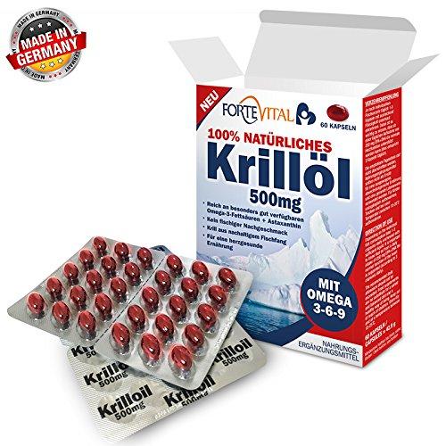 NATÜRLICHES Krill Öl 500mg Premium +Omega 3-6-9 | 60 Kapseln (Krillöl) mit 14 mg Astaxanthin pro 100g / hochdosiert von ForteVital®