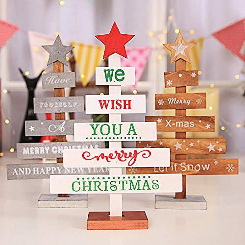 Mini madera Feliz árbol de Navidad Escritorio Decoración de mesa ...