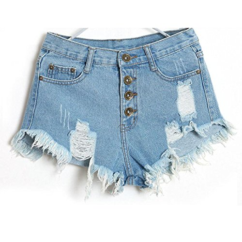 Washed Straight Leg Jeans - Rambling New Casual Vintage High Waist Jeans Hole Short Jeans Denim Shorts