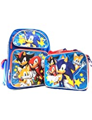 Sonic the Hedgehog Boys 16 Canvas Blue School Backpack Plus Lunch Bag Set