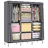 LISHBIE 69'' Portable Non-woven Fabric Clothing Wardrobe Shelves Organizer Closet Storage, 51 x 17.5 x 69 inches, Gray