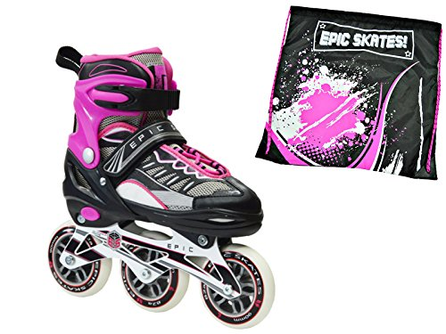 - Epic Spear Black & Pink Indoor / Outdoor 90mm 3-Wheel Tri-Skate Inline Speed Skate Bundle w/ Matching Drawstring Bag! (Adult 5-8)