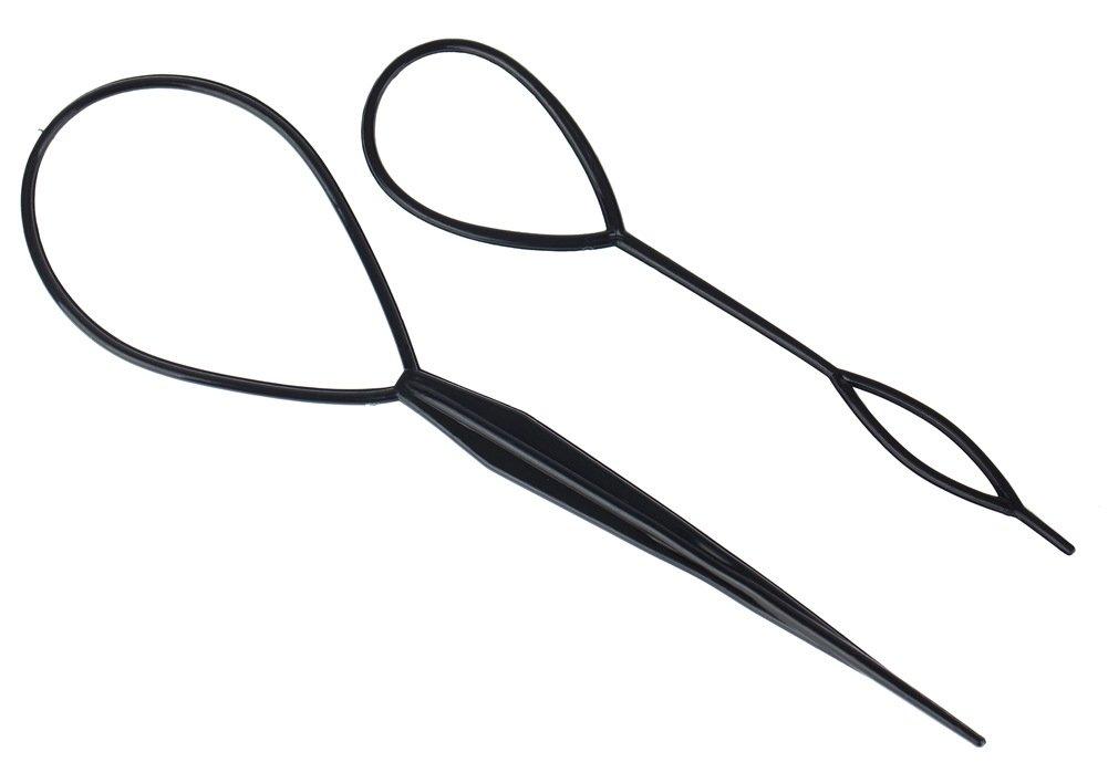 Set of 2 Black Plastic Hair Braid Ponytail Makers Styling Loops Tools By VAGA®