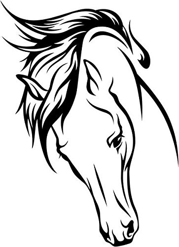 Horse Head Pet Animal Decal Sticker Car Motorcycle Truck Bumper Window Laptop Wall Décor Size- 20 Inch Tall Gloss Black Color
