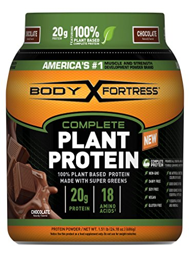 Body Fortress, Plant Based Protein Powder, Chocolate, 1.51 Pounds, 20 Grams of Protein Per Serving, Vegan Protein Powder With Pea Protein Isolate and Complete Essential Amino Acids, Dairy-Free