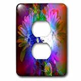 3dRose Spiritual Awakenings Fantasy - Bright fractal background and beautiful woman fantasy art - Light Switch Covers - 2 plug outlet cover (lsp_273425_6)
