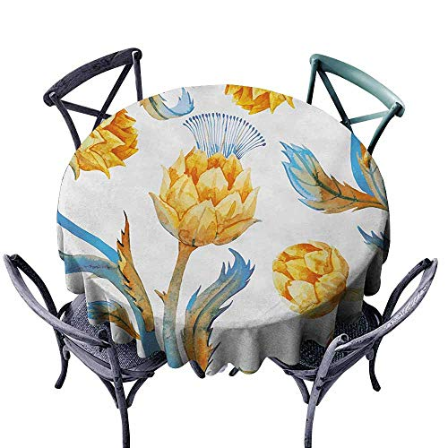 Snadkil Antifouling Tablecloth Artichoke Abstract Colored Vegetables in Art Nouveau Watercolored Design Sky Blue and Earth Yellow Great for Buffet Table D63