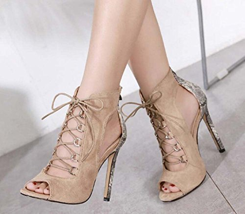 Boots Zapatos de Roma Stiletto Cool 11cm Sexy cruzadas Mujeres Court Peep Eu Colormatch con fiesta Hollow Shoes Toe Pump de cremallera de Zapatos Shoes Up Lace Correa Beige Size OL 42 Sandalias vestir 34 dPwvPq