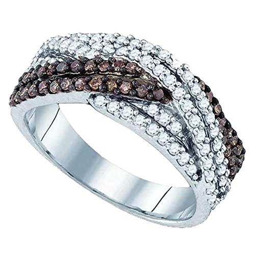 - Sonia Jewels Size 8-925 Sterling Silver Channel Set Cross Over Round Cut Chocolate Brown and White Diamond Ladies Womens Wedding Band OR Anniversary Ring (3/4 cttw.)