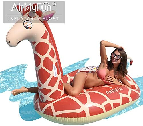AirMyFun Inflatable Giant Giraffe Pool Float Inflatable ToysDurable Handles Hold Animal Water Park for Enjoying Summer Fun