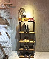 8bcb0a565c95 KALER Retro Industrial Pipe Display Rack Free Standing Shoe/Bag Store  Display Rack Shelf 5 Tiers Wooden Plank Rack