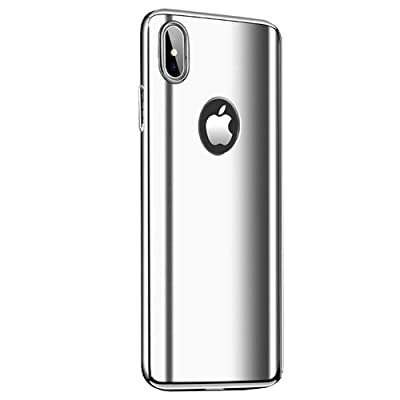 Fantasydao Compatible/Remplacement for iPhone XR Case + Screen Protector 2 in 1 Plating Hard PC Mirror 360° Full Body Protection Ultra Thin Cover for i Phone XR (Silver)
