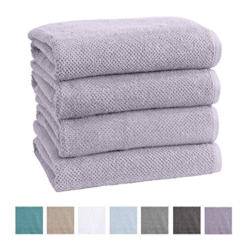 Great Bay Home 4-Pack 100% Cotton, Ultra-Absorbent Textured Bath Towels. 6 Elegant Solid Colors. Popcorn Weave. Acacia Collection. (Bath 4pk, Lilac) (Best Absorbent Bath Towels)