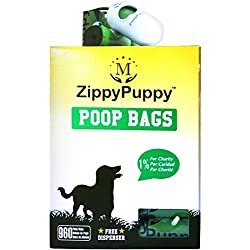 960 Dog Poop Bags (Large and Leak-Proof) plus Dispenser from ZippyPuppy. Pooper Scooper Bags are Strong, Green, Earth Friendly, Unscented, Easy to detach and Open effortlessly in Winter as well.