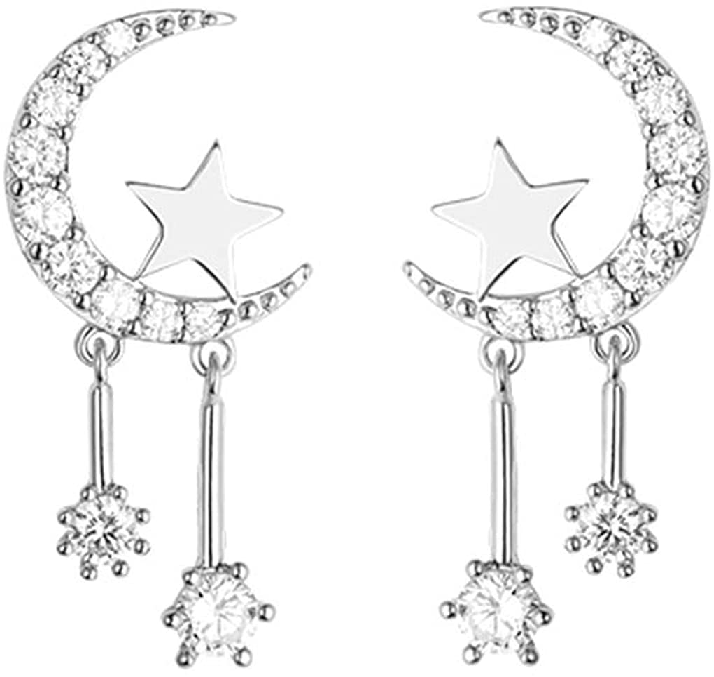 DIY moon jewelry E2139-BR-18 silver moon earrings 15/% SALE 4 pcs  2 pairs shiny silver crescent moon stud earrings