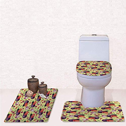 (Comfort Flannel 3 Pcs Bath Rug Set,Contour Mat Toilet Seat Cover,Eggplant Tomato Relish Onion Going Green Eating Organic Tasty Preserve Nature Decorative with Multicolor,Decorate Bathroom,Entrance do)