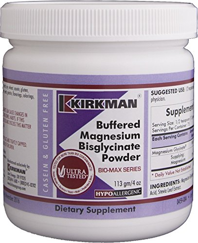 Kirkman Buffered Magnesium Bisglycinate Powder - Bio-Max Series || 113 gm/ 4 oz Powder || Free of common allergens || promotes relaxation and restful sleep || Gluten and Casein Free || Mineral