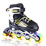Kuxuan Sayo Inline Skates Adjustable Kids,Boys Rollerblades All Wheels Light up,Fun Illuminating Girls Youth - Yellow L